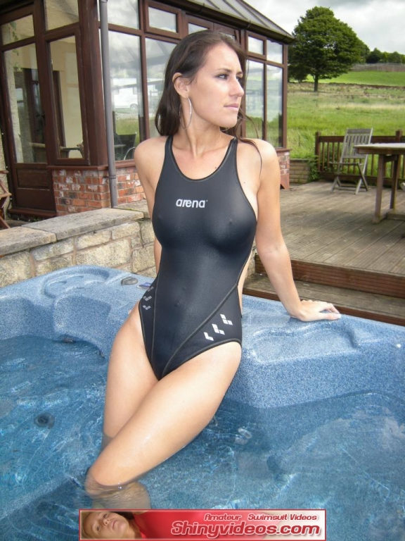 Shinyvideos jess in a wet white asics swimsuit cameltoe